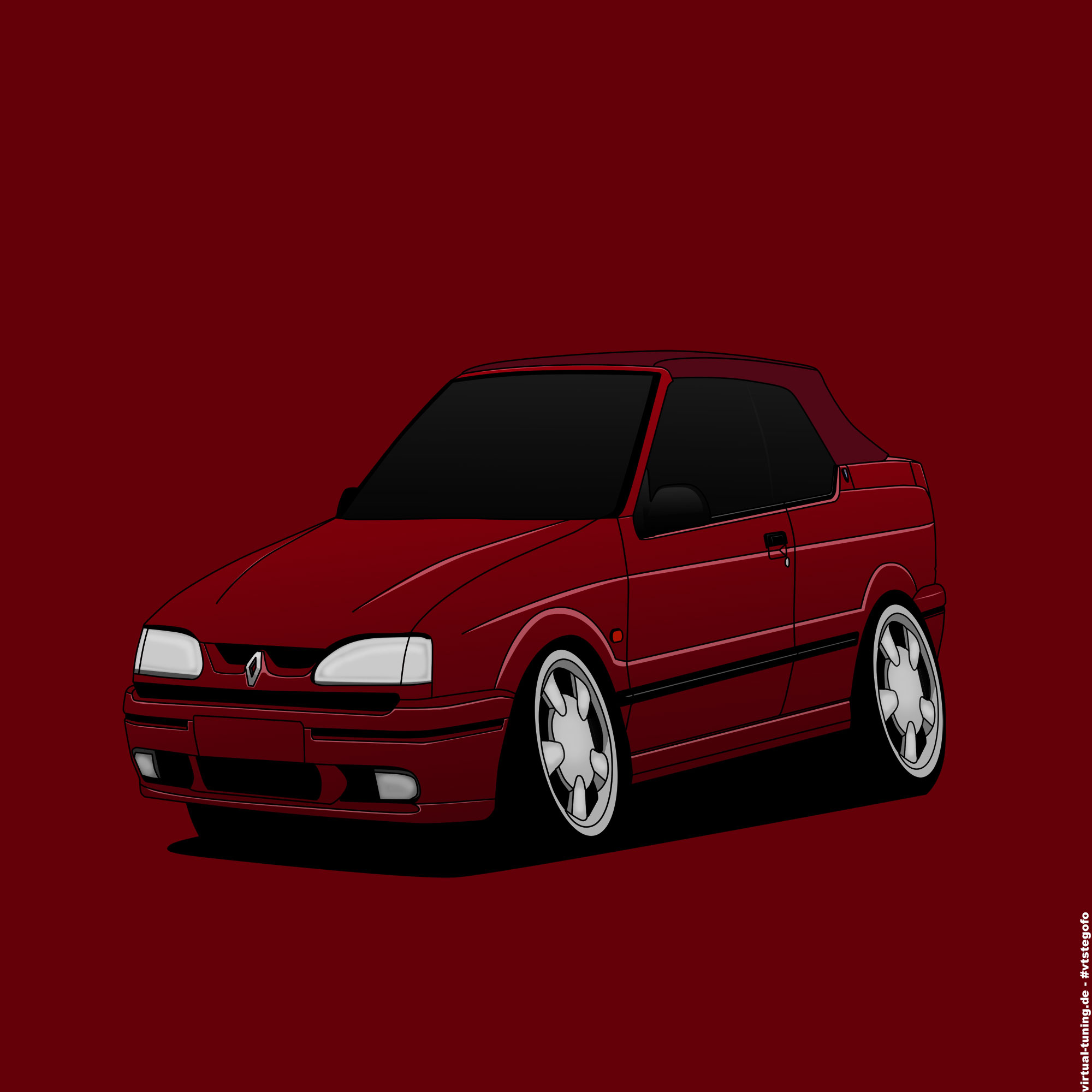 Renault 19 RSI Cabriolet - Cartoon by vtstegofo