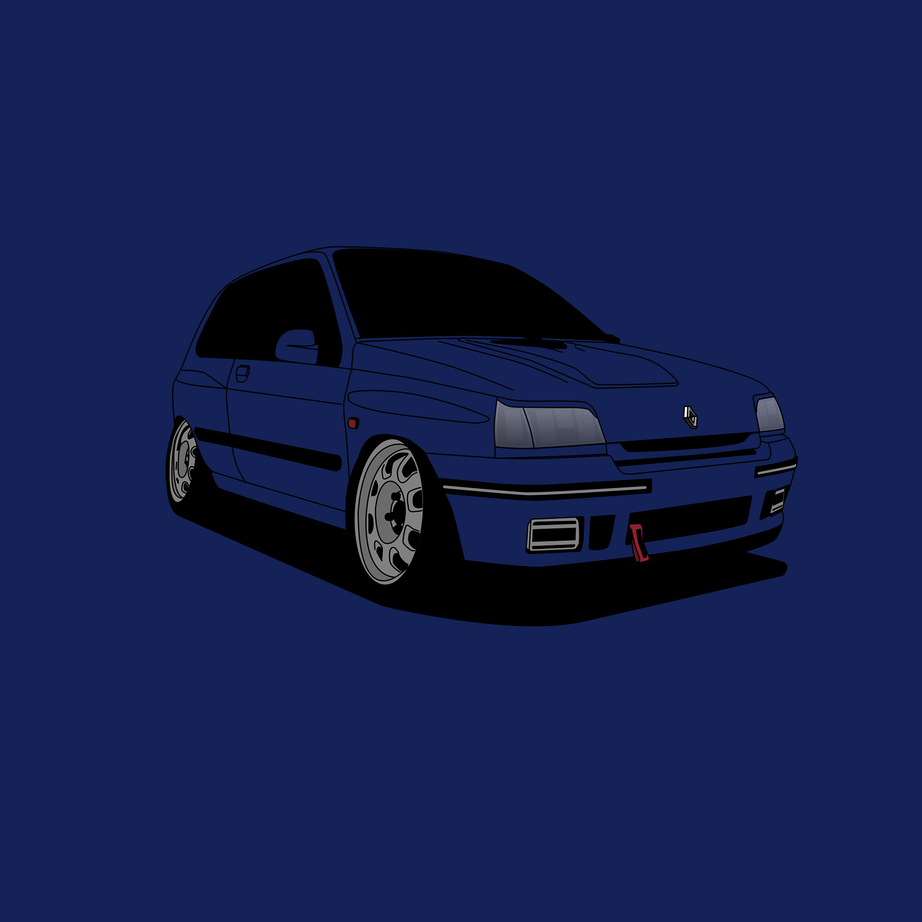 Renault Clio 1 16V - Cartoon by vtstegofo
